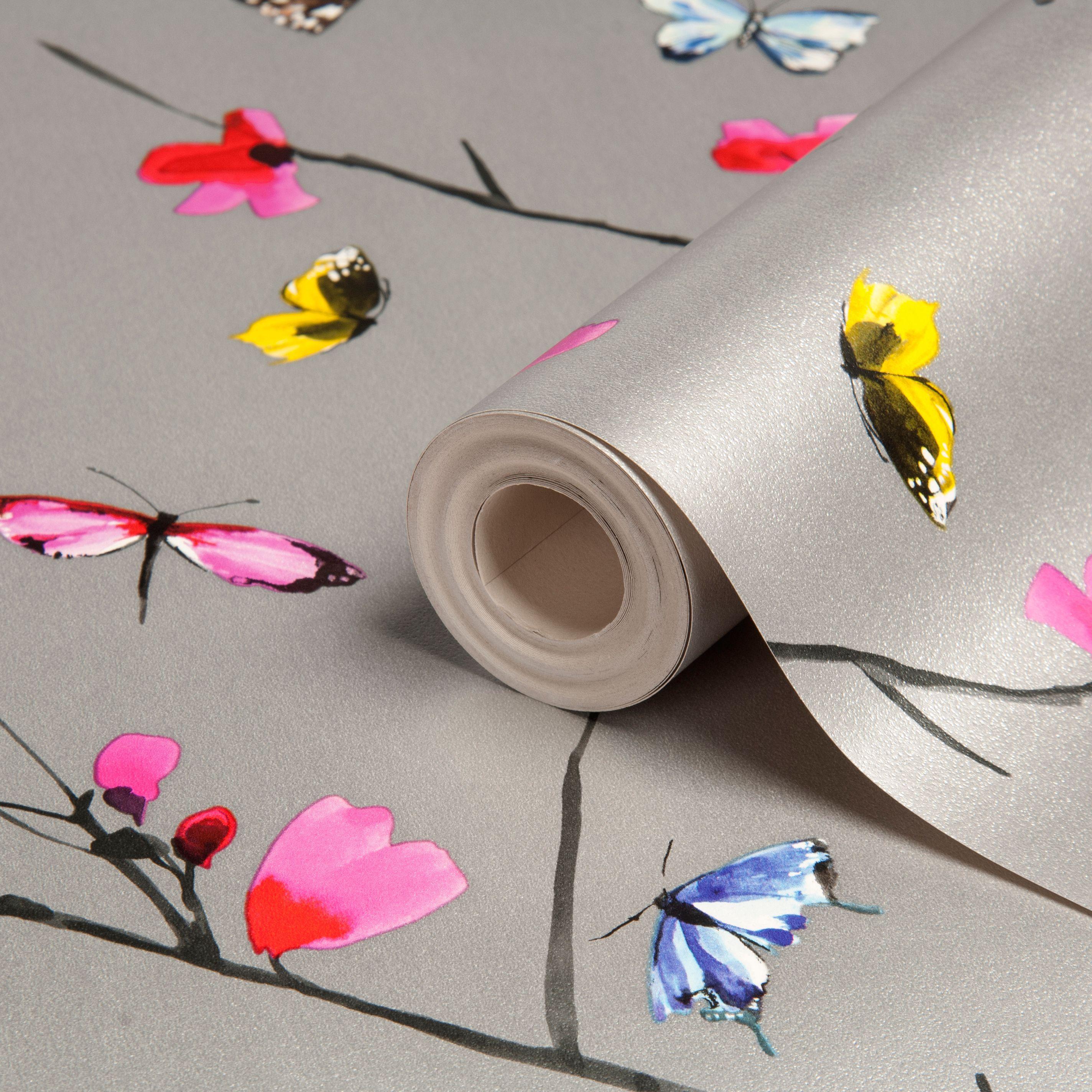 Statement Mazarine Silver Effect Butterflies Metallic