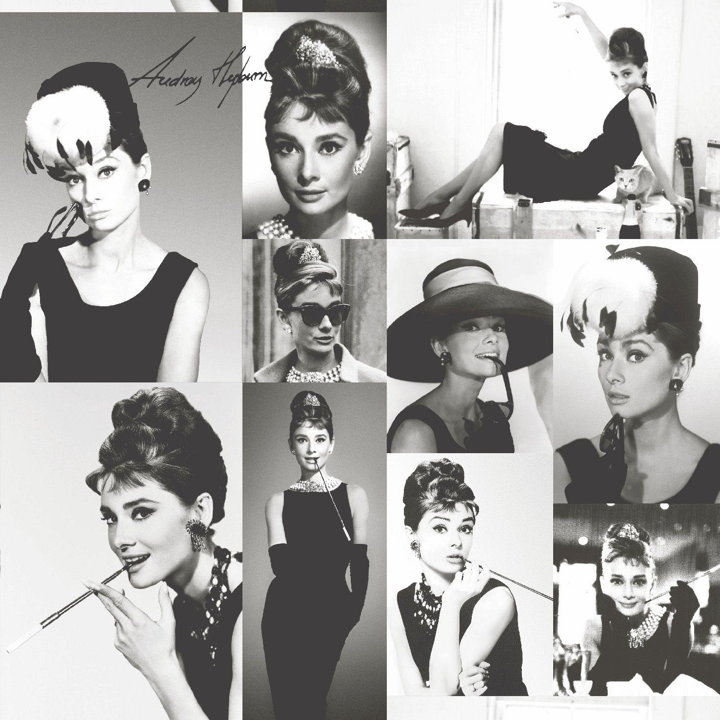 Statement Black White Audrey Hepburn Photographic Wallpaper