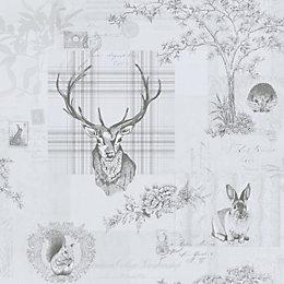 K2 Grey Animals Matt Finish Wallpaper