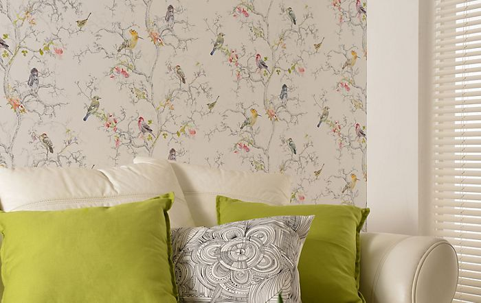 Walls papered with ornithology birds metallic effect wallpaper