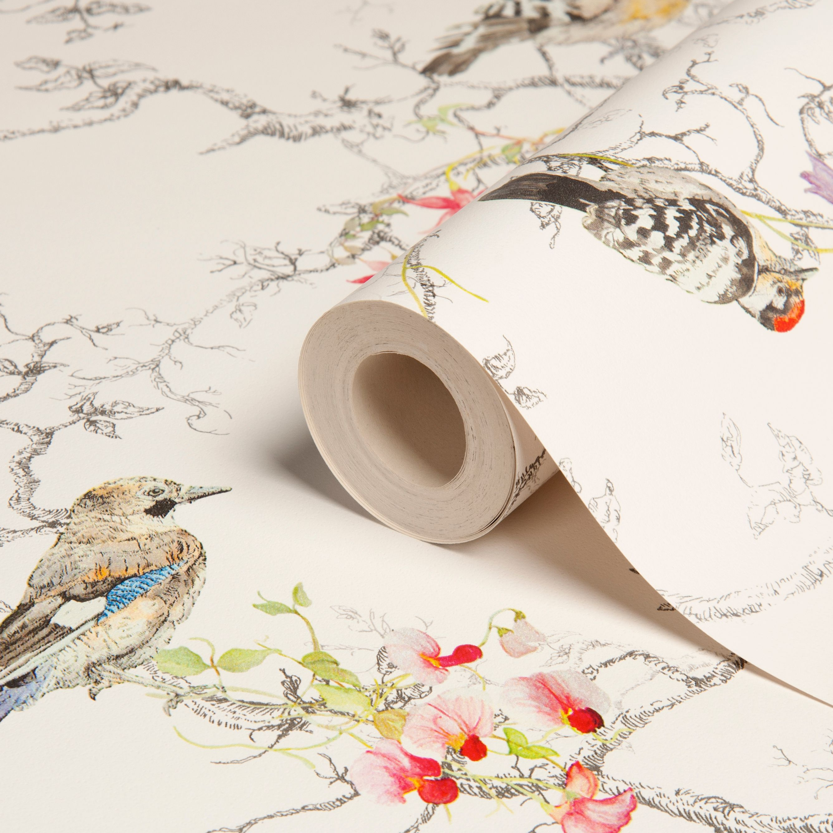 Statement ornithology birds metallic effect wallpaper B q bathroom design service