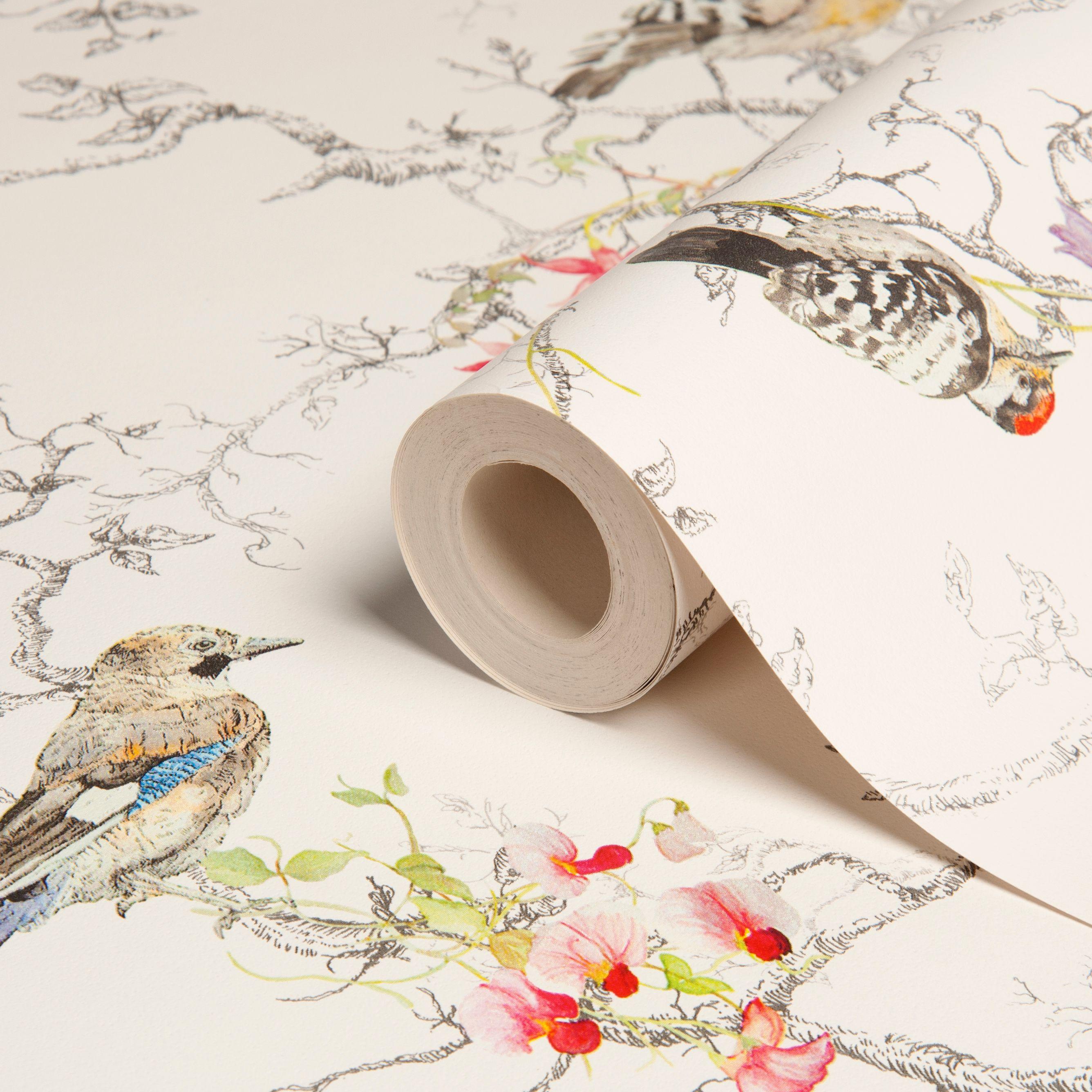 Holden Decor Statement Ornithology Multicolour Birds Metallic Effect Smooth Wallpaper Departments Diy At B Q