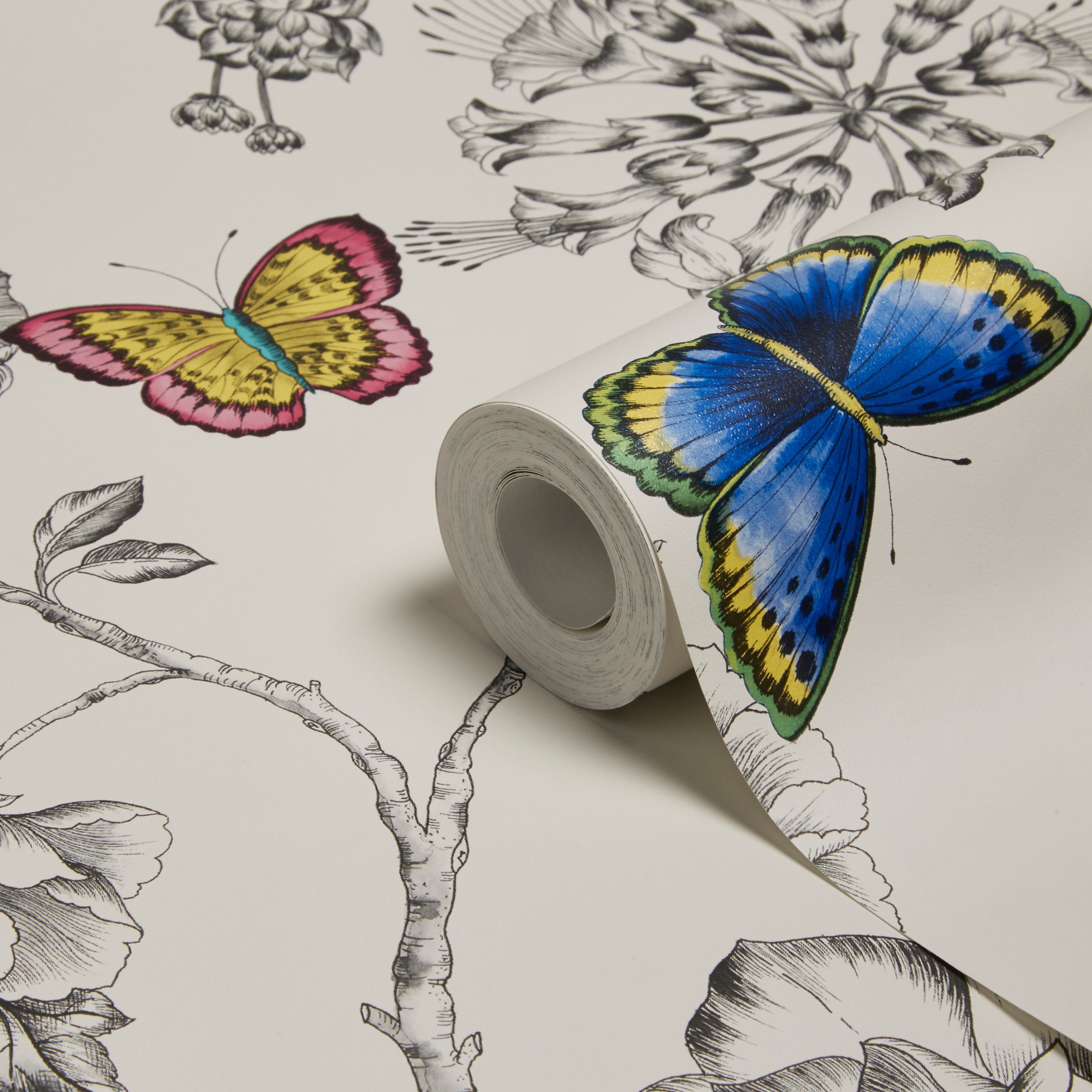 Holden d cor keilena white floral butterflies wallpaper for B q bedroom wallpaper designs
