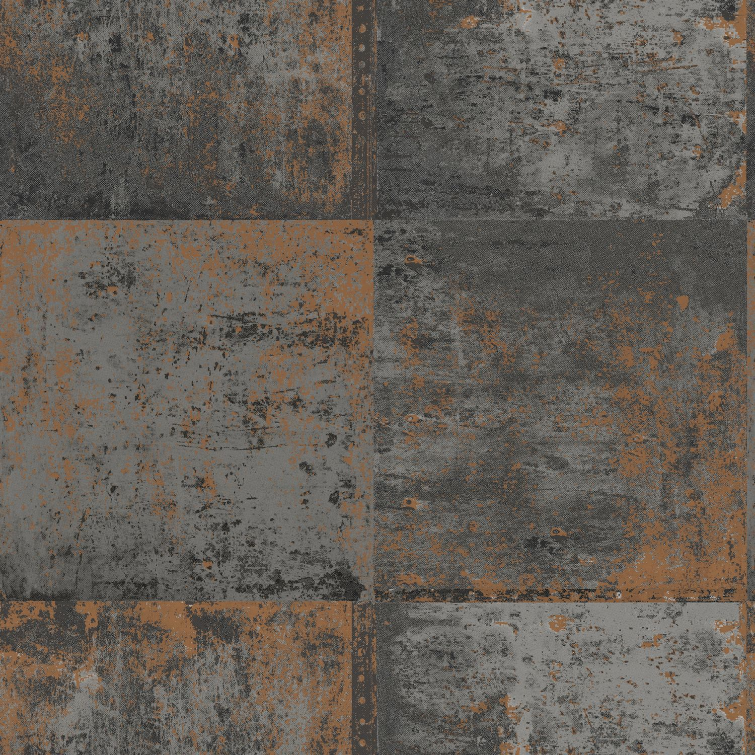 Metallic Wall Paneling : Black copper distressed metal panel wallpaper
