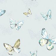 K2 Blue & teal Butterfly Glitter Wallpaper