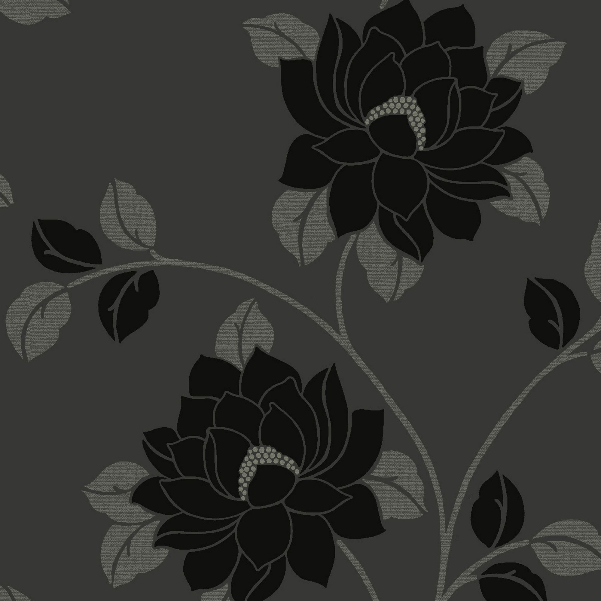 statement lola black floral wallpaper departments diy