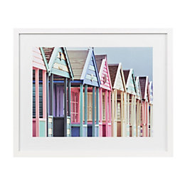 Beach huts White Framed art (W)530mm (H)430mm
