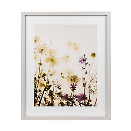 Meadow haze Grey Framed art (W)430mm (H)530mm