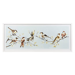 Little birdie White Framed art (W)1030mm (H)430mm