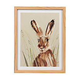 Harriet the hare Natural Framed art (W)330mm (H)430mm