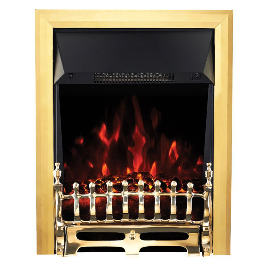 Focal Point Electric Fire: Focal Point Blenheim Brass LED Electric Fire