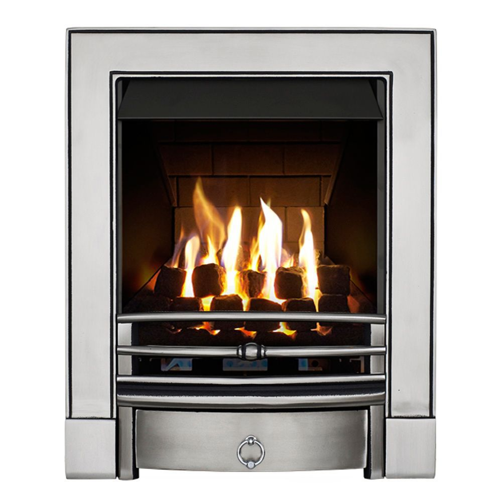 focal point soho multi flue satin chrome remote control inset gas fire