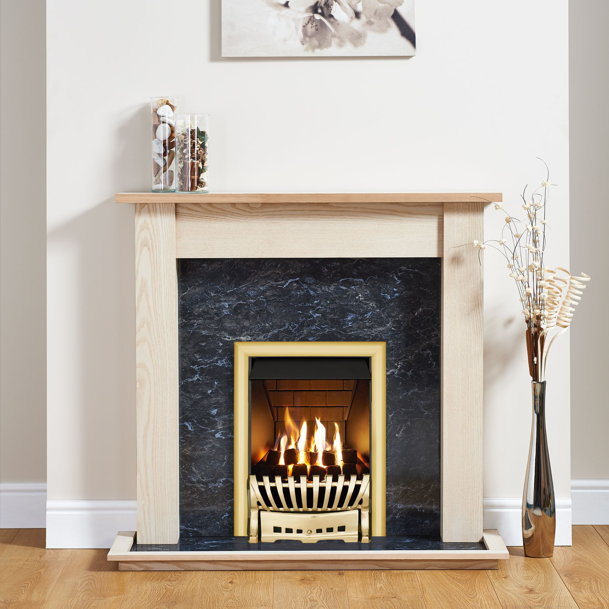 Focal Point Elegance Brass Inset Gas Fire Suite