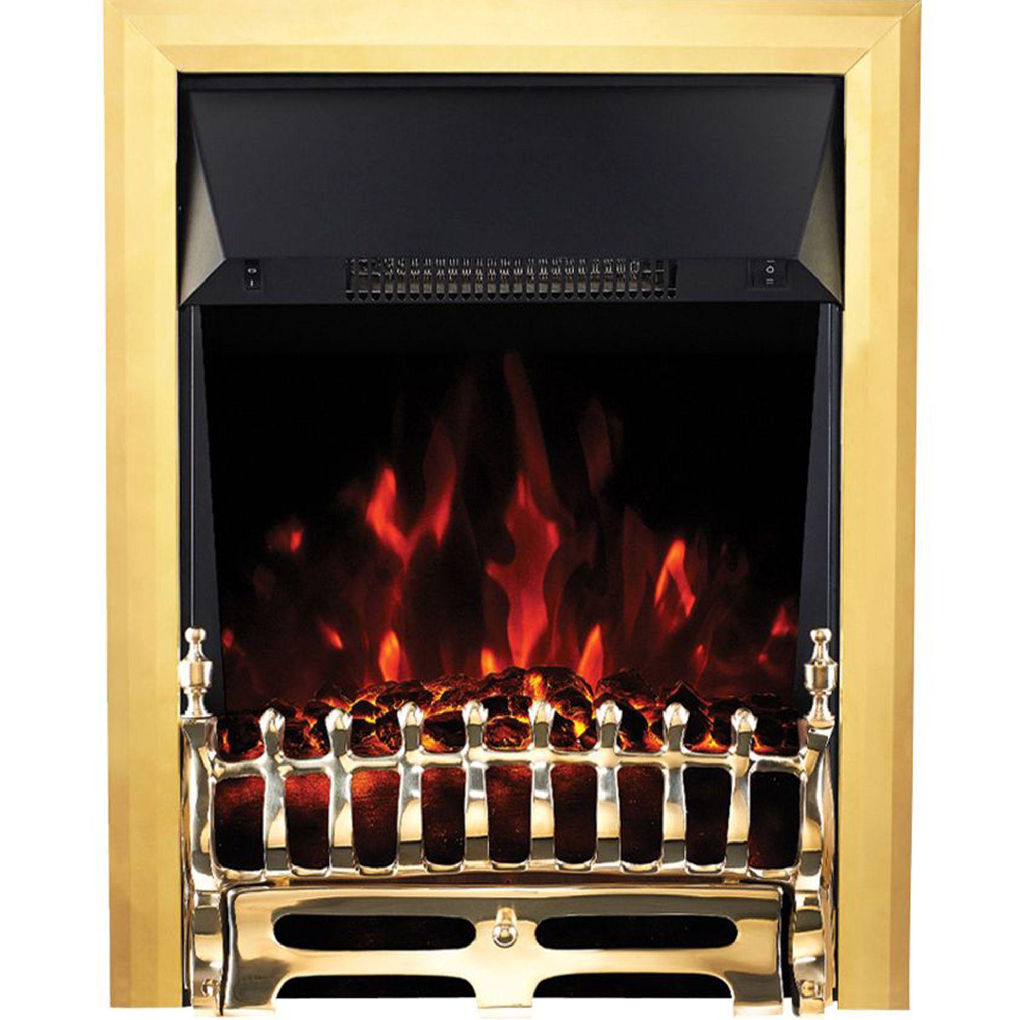 Focal Point Electric Fire: Focal Point Blenheim Brass Effect Electric Fire