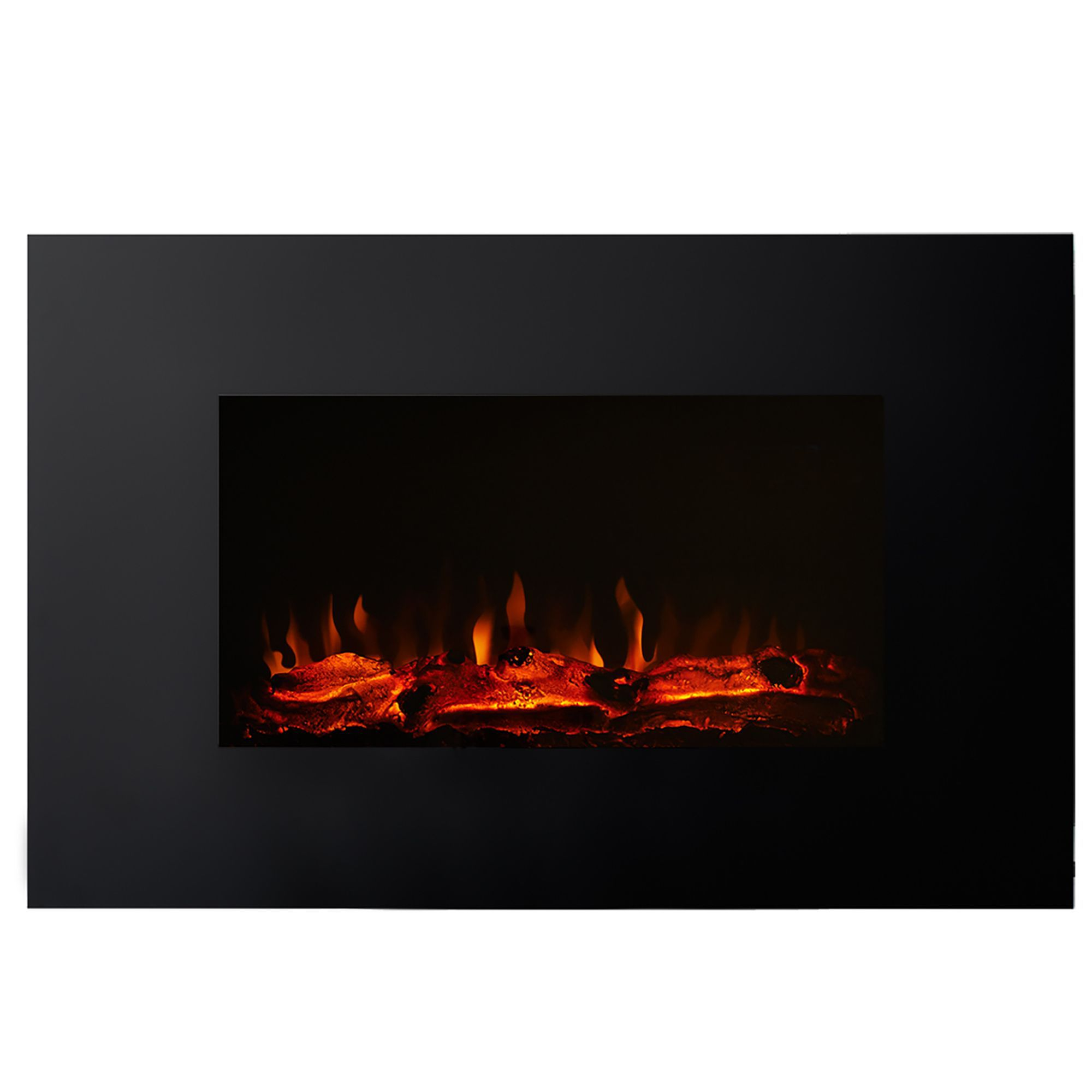Focal Point Electric Fire: Focal Point Charmouth Black & Glass Effect LED Remote