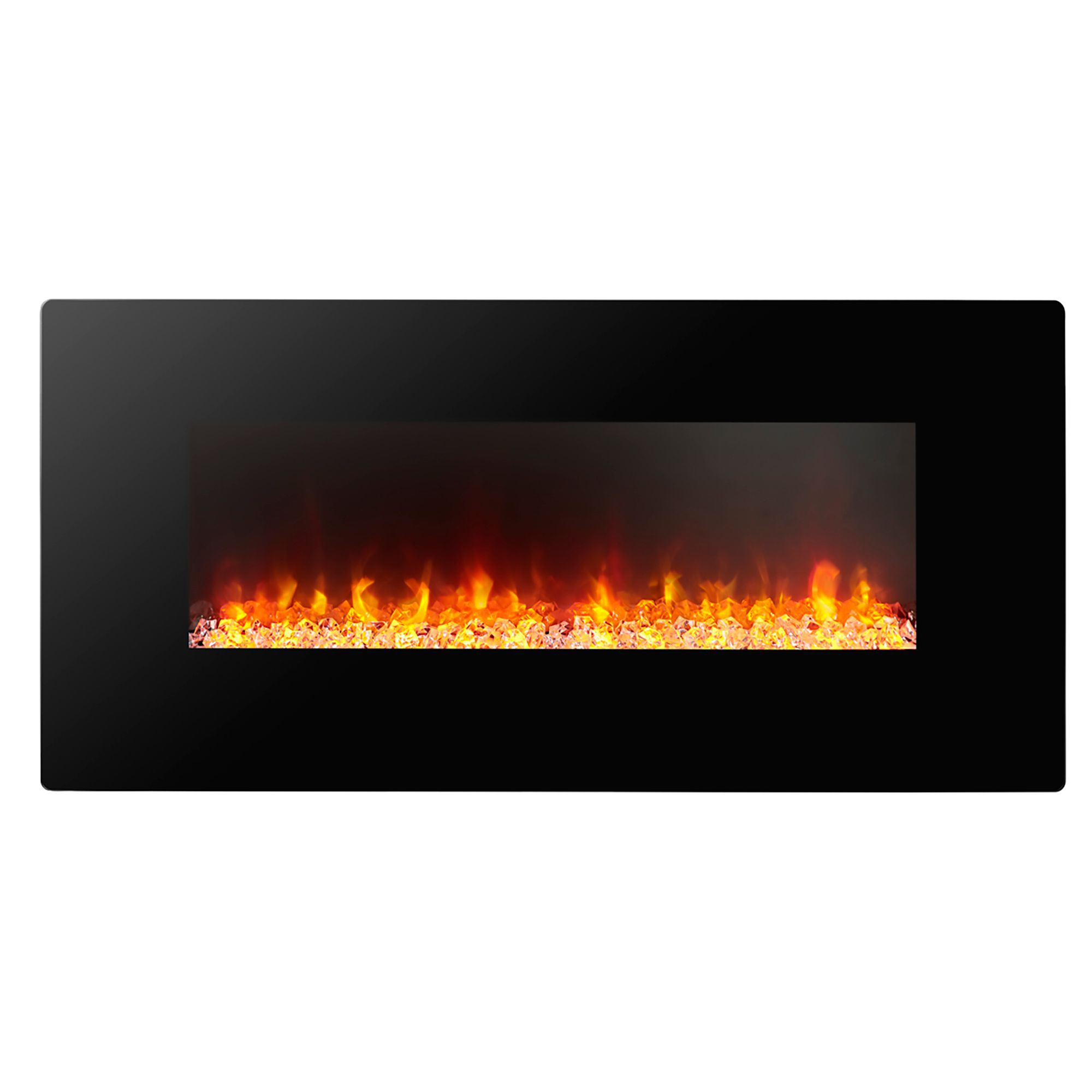 Focal Point Electric Fire: Focal Point Columbus Black & Glass Effect LED Remote