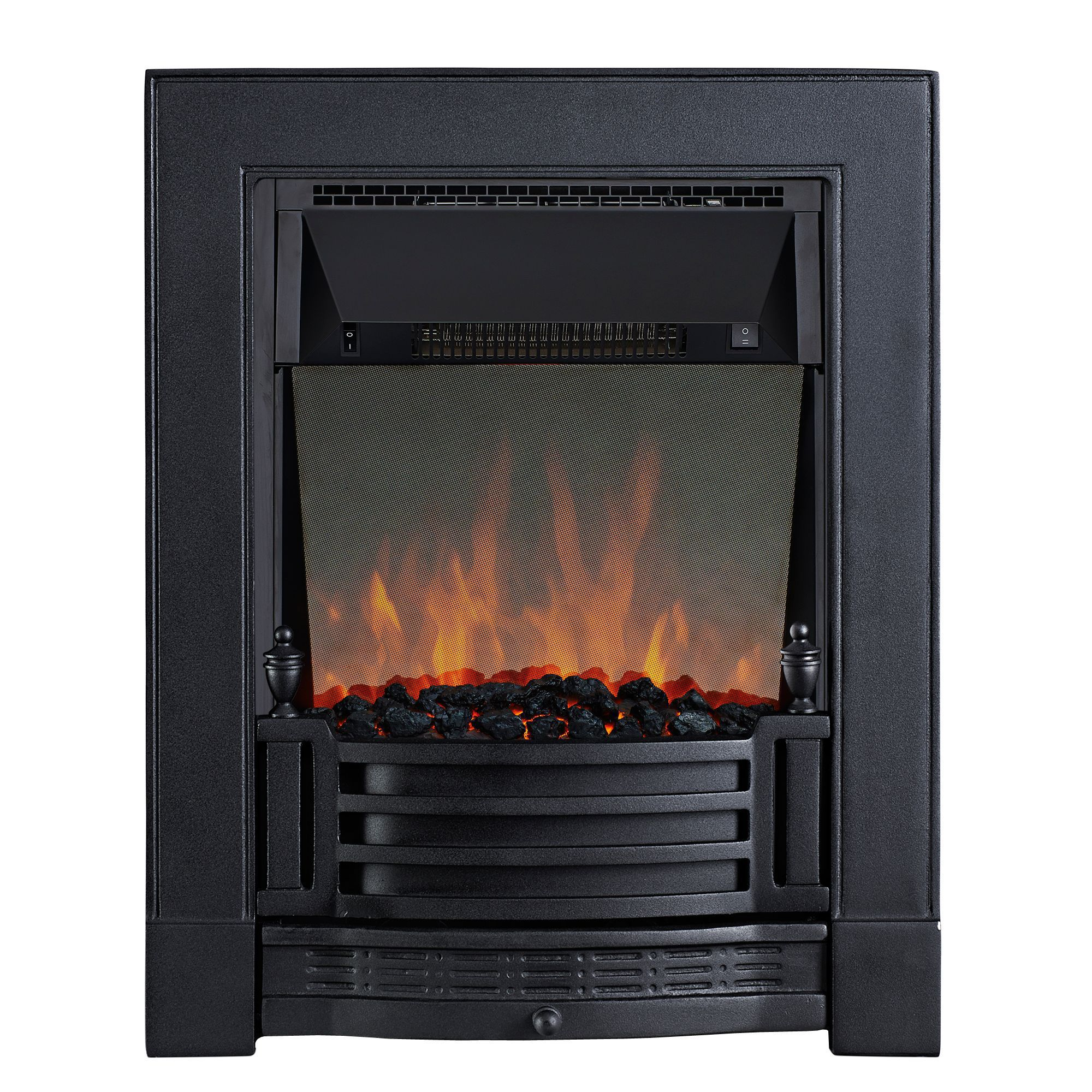 Focal Point Electric Fire: Focal Point Finsbury Black & Cast Iron Effect LED Remote