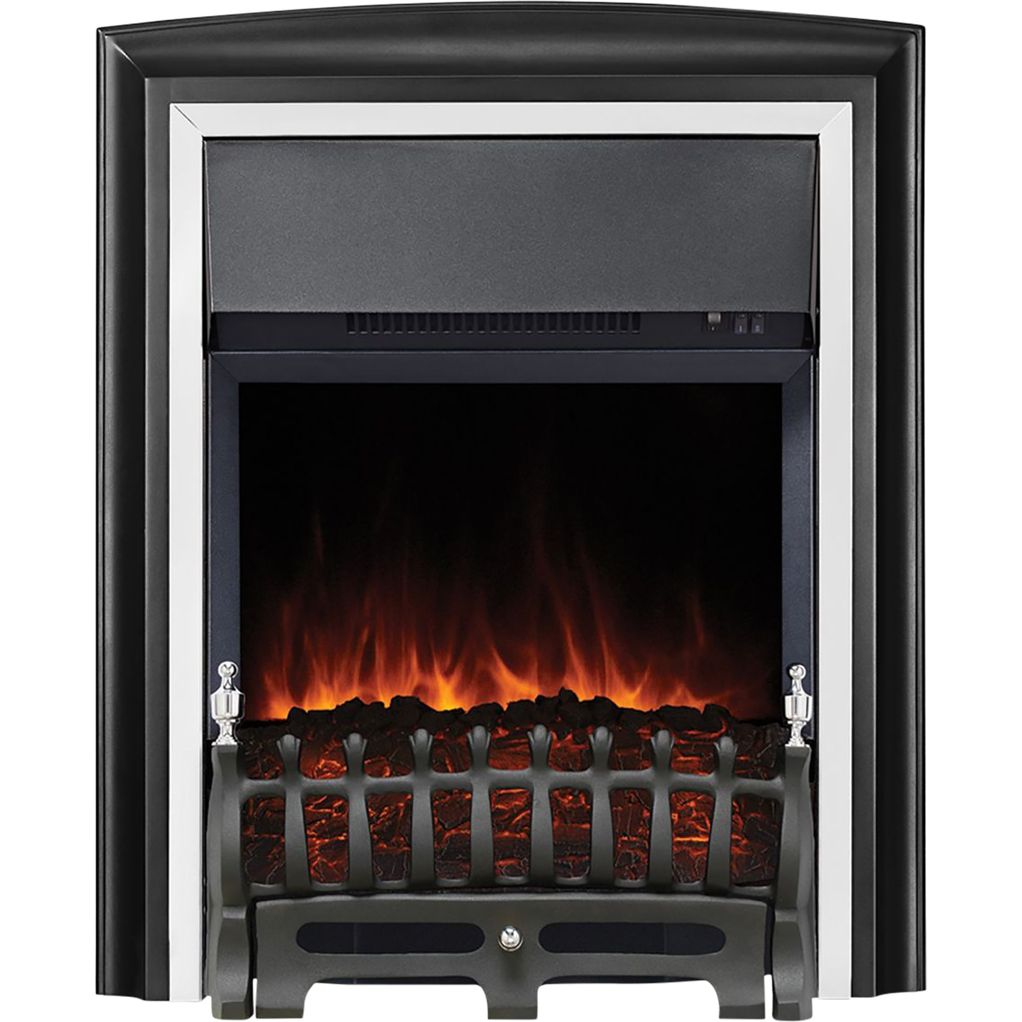 Focal Point Electric Fire: Focal Point Lycia Black & Chrome Effect LED Electric Fire