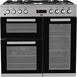 Beko Dual fuel Cooker with Gas hob, KDVF90X