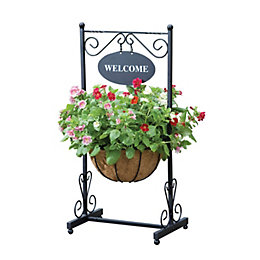 Traditional Georgian Black Welcome Planter (H)91cm
