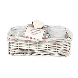 Rosewater Jar Candles In A Wicker Basket, Set