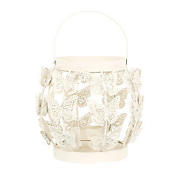 Cream Butterfly Iron Lantern