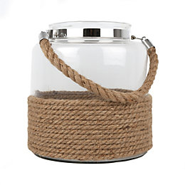 Clear Rustic Glass & rope Hurricane lantern, Large