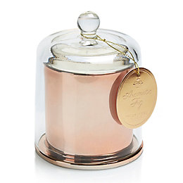 Copper effect Glass Cloche candle