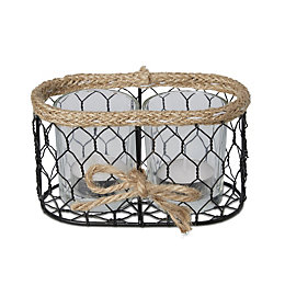 Black Chicken Wire Glass & Metal Twin Tealight