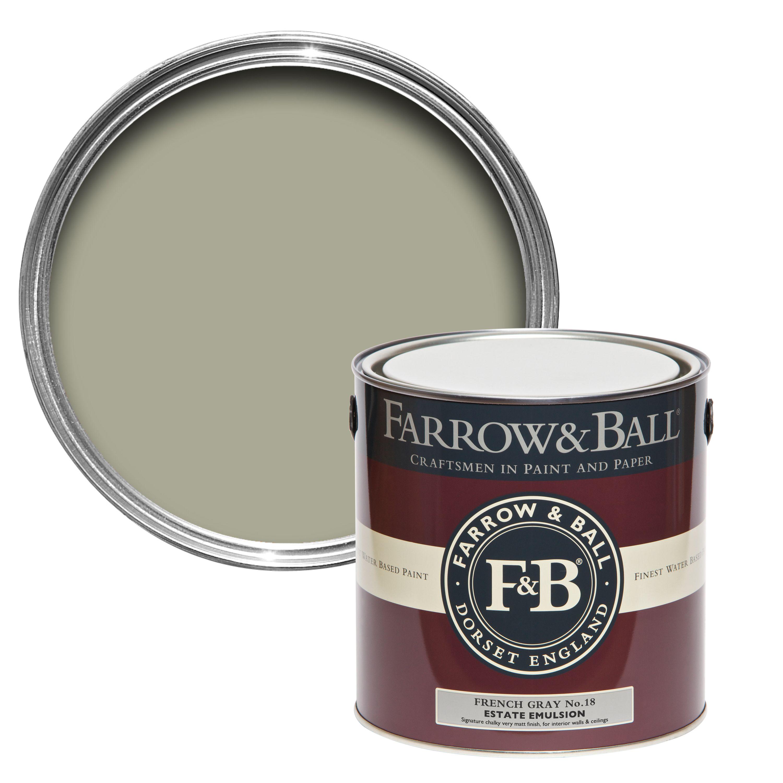 Farrow & Ball French Gray no.18 Matt Estate emulsion paint 2.5L ...