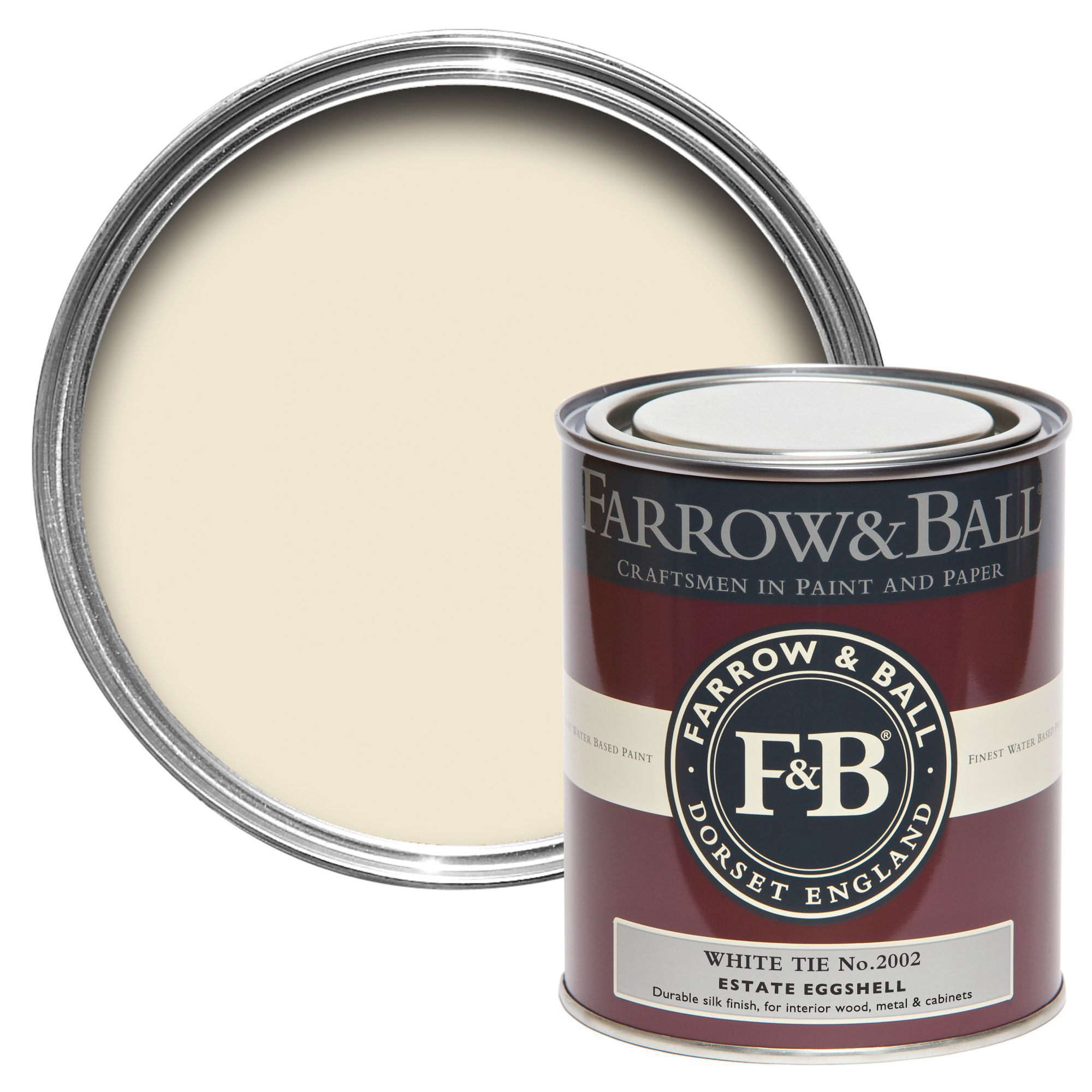 farrow ball estate eggshell white tie silk sheen estate eggshell paint 750 ml. Black Bedroom Furniture Sets. Home Design Ideas