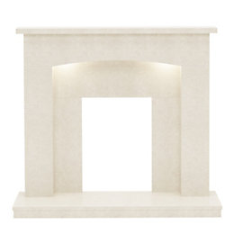 Midland Manila Micro Marble Fire Surround with Lights