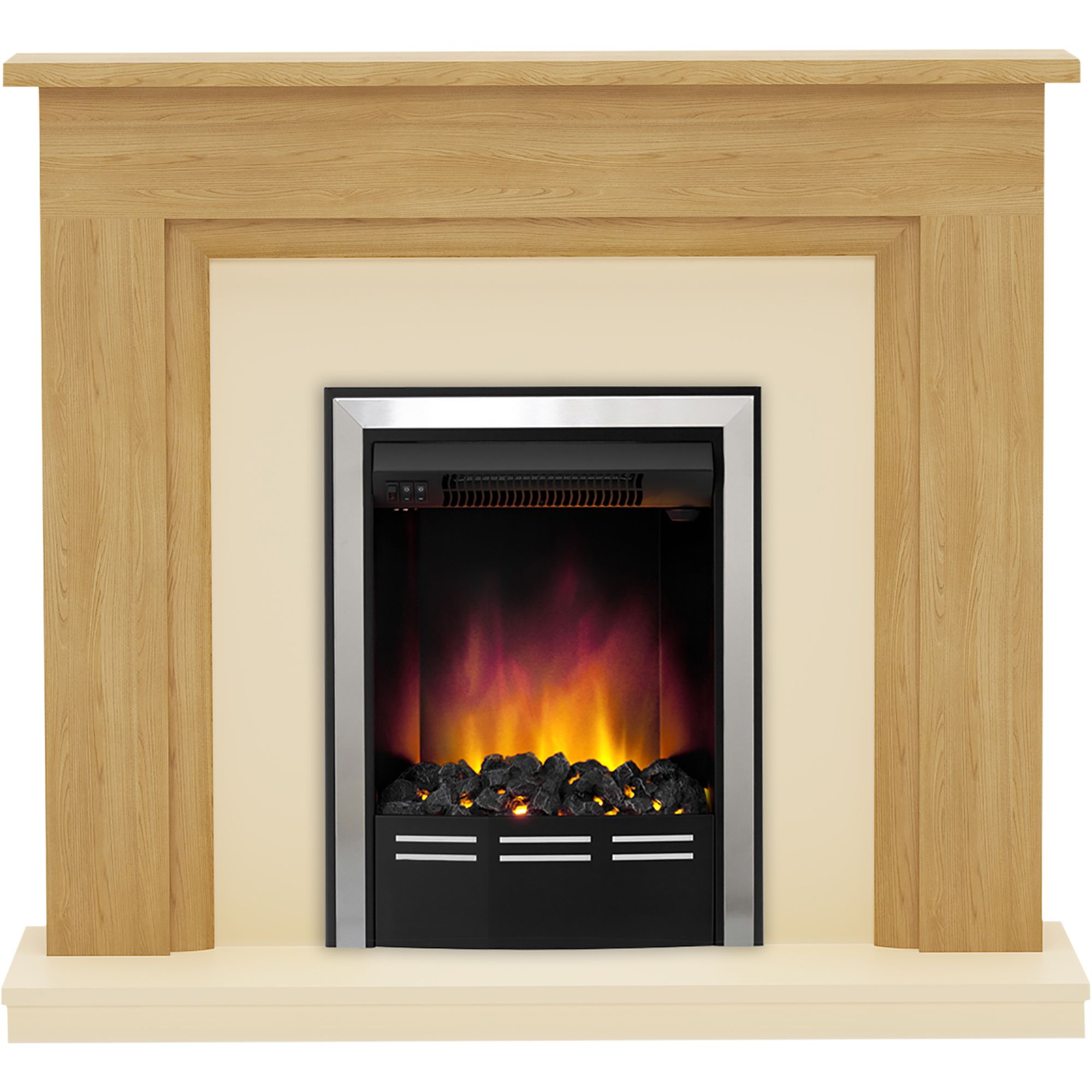 Be Modern Dallington Black Chrome Effect Electric Fire Suite Departments Diy At B Amp Q