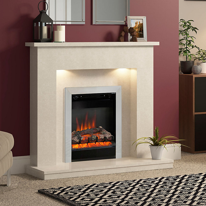 Be Modern Fremont Black & Chrome effect LED Electric fire