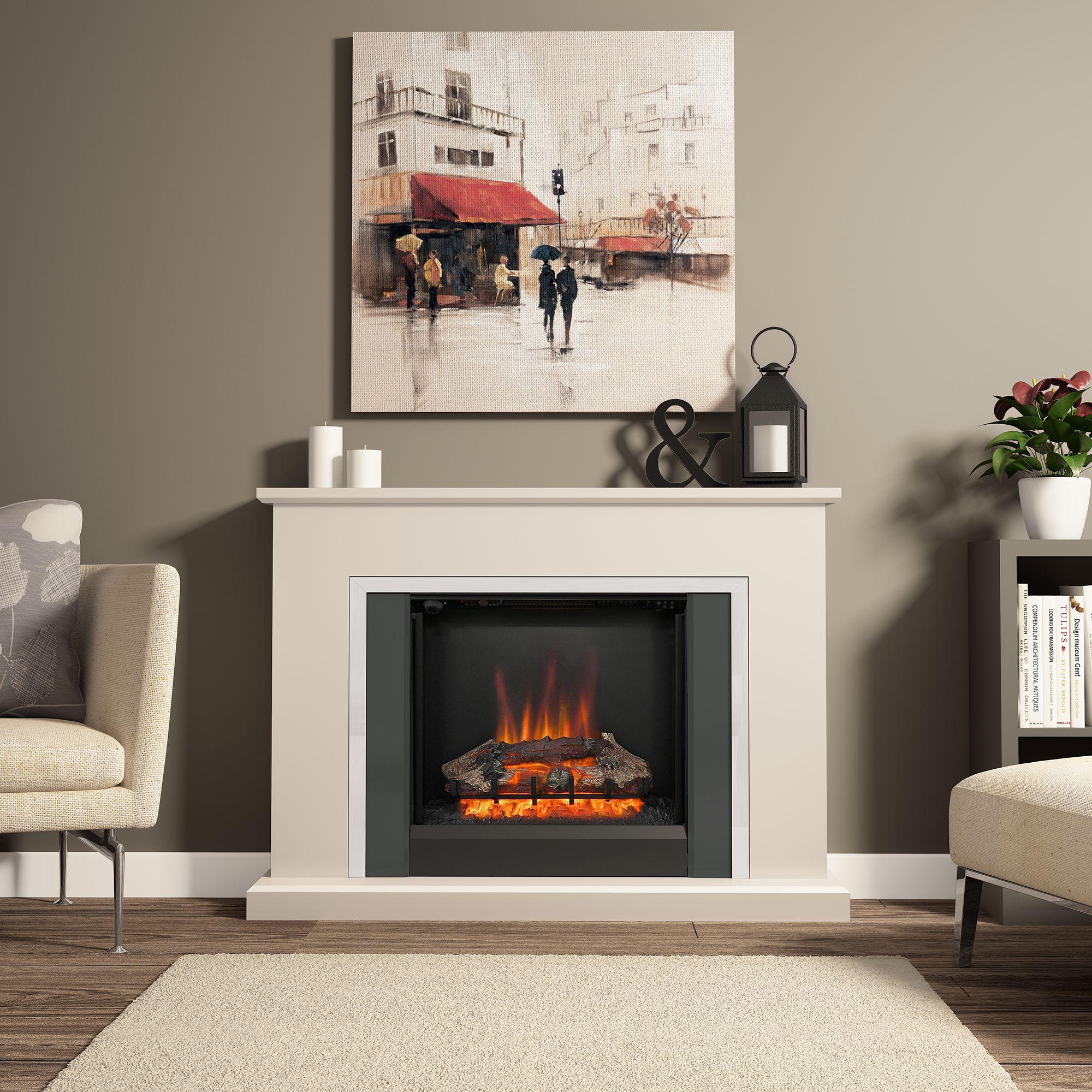 Be Modern Ashburnham Black LED Electric fire suite