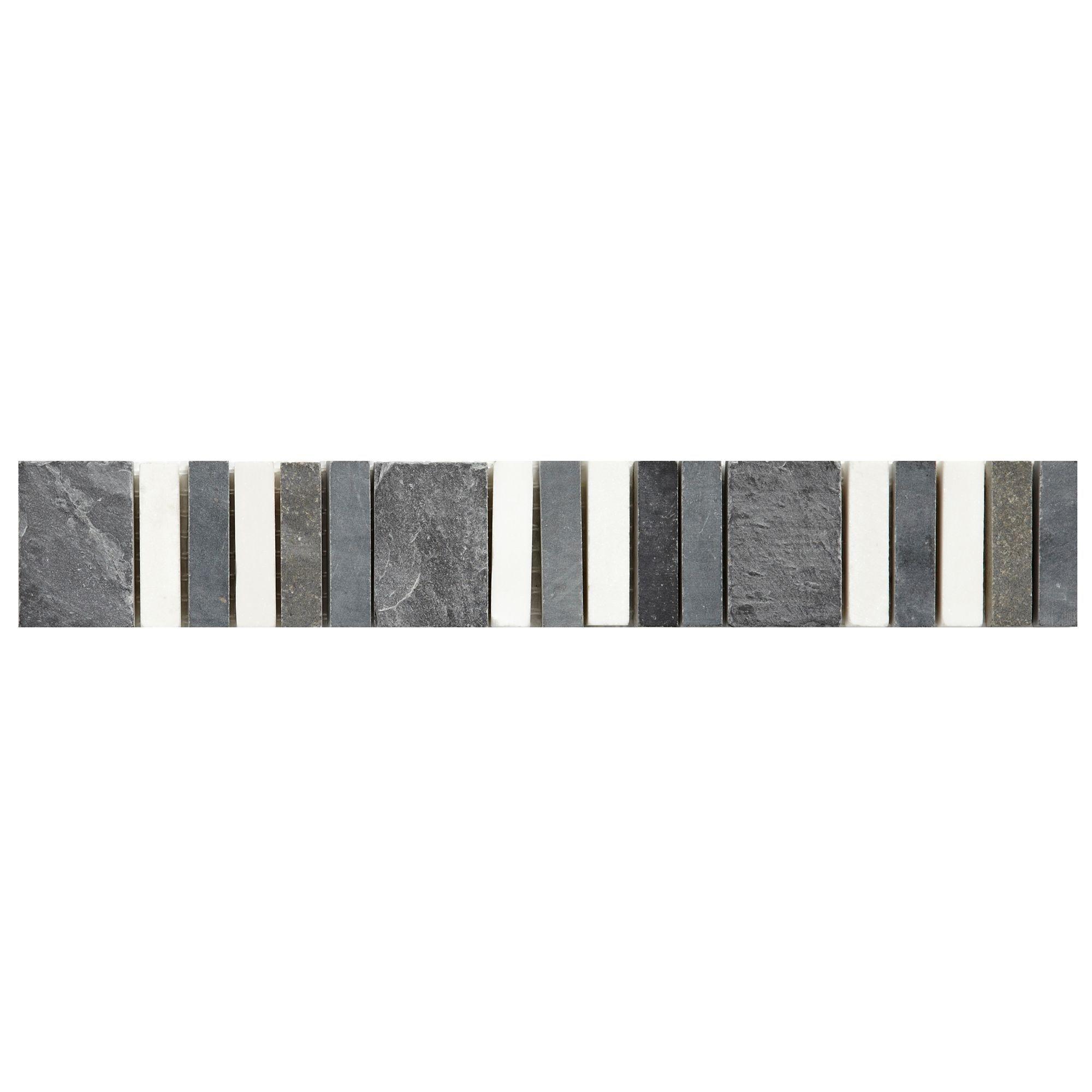 Matchstick Grey Mosaic Border Tile L 250mm W 40mm