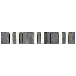 Matchstick Grey Mosaic Border Tile, (L)250mm (W)40mm