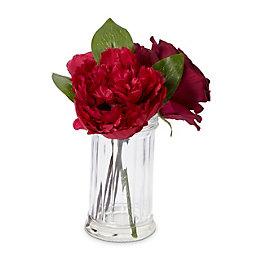 Plum Rose, Peony, Ranunculus Artificial Floral Arrangement