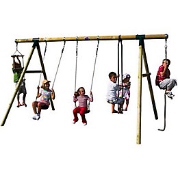 Plum Orang-Utan Wooden Swing Set