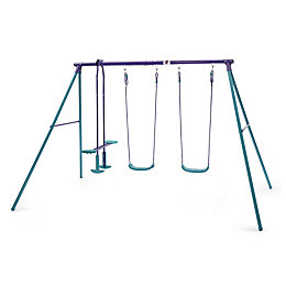 Plum Outdoor Metal Swing set with glider