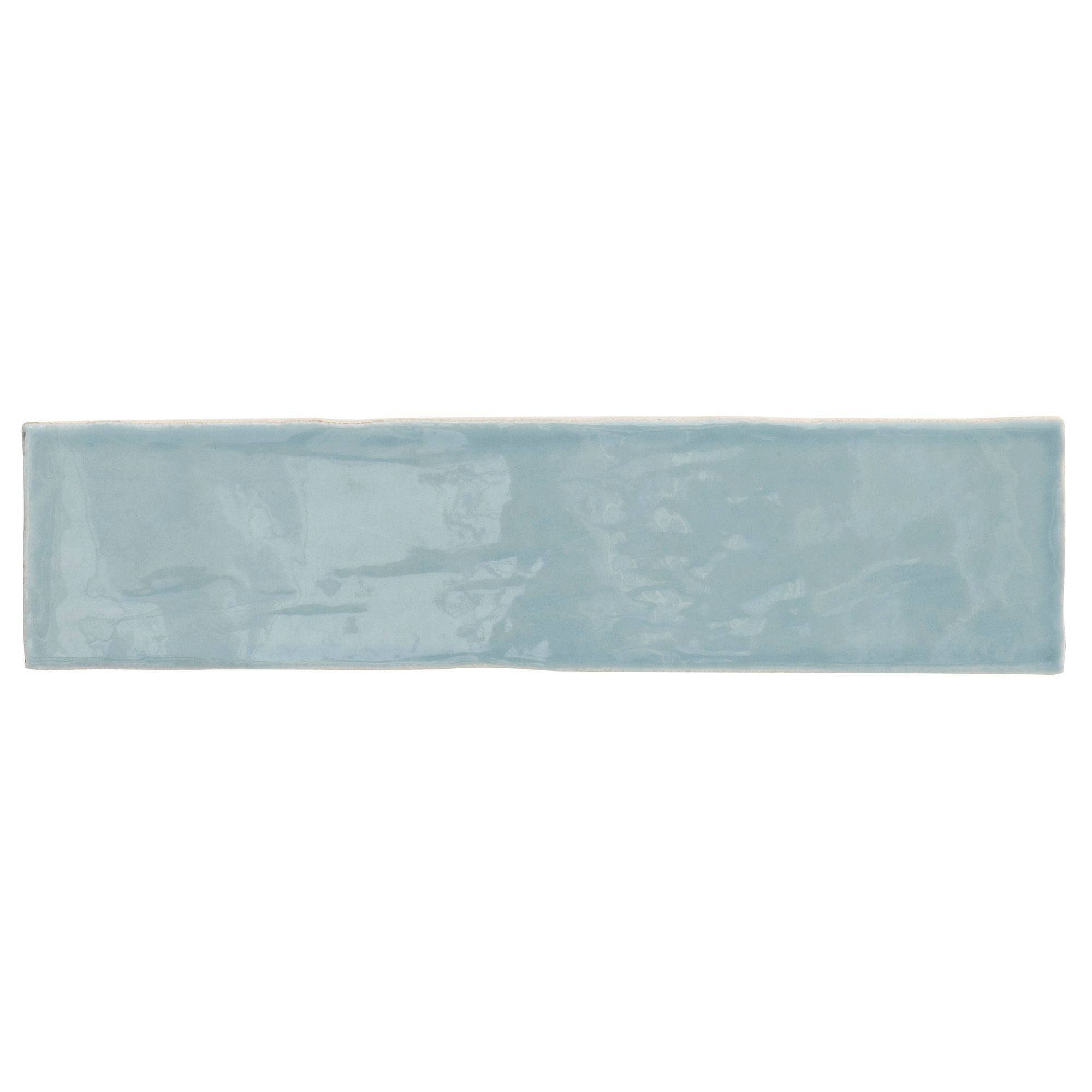 Padstow Sky blue Ceramic Wall tile, Pack of 22, (L)300mm (W)75mm ...