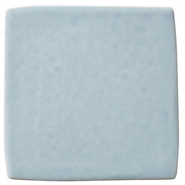 Padstow Sky blue Ceramic Wall tile, Pack of