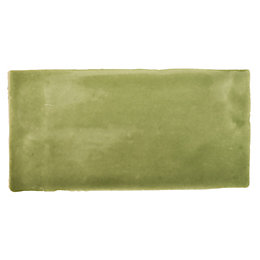 Padstow Olive Ceramic Wall Tile, Pack of 44,