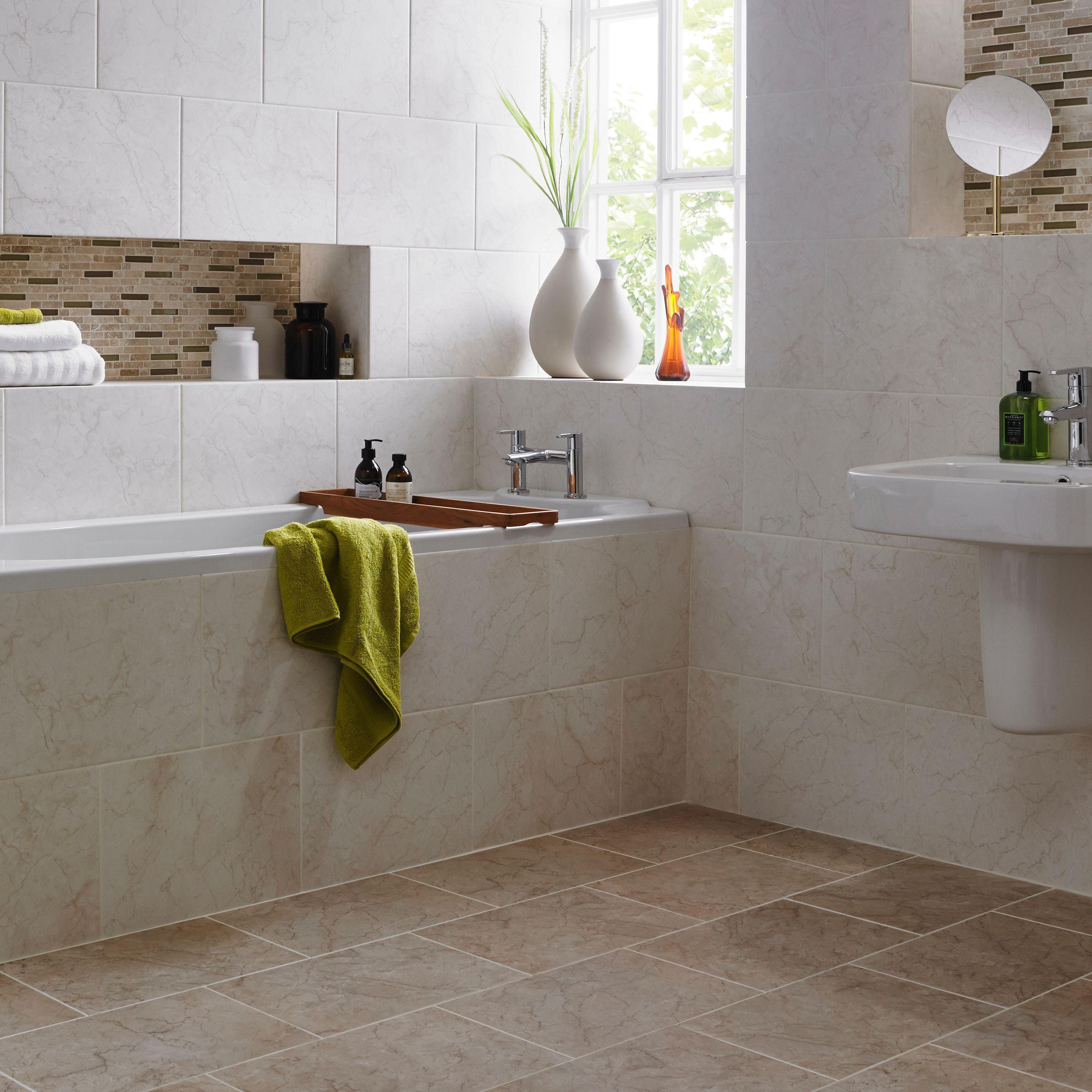 Savino Earth Marble Effect Ceramic Wall Floor Tile Pack Of 8 L 416mm W 300mm Departments Diy At B Q