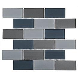 Lofthouse Petrol Grey Glass Mosaic tile, (L)300mm (W)300mm