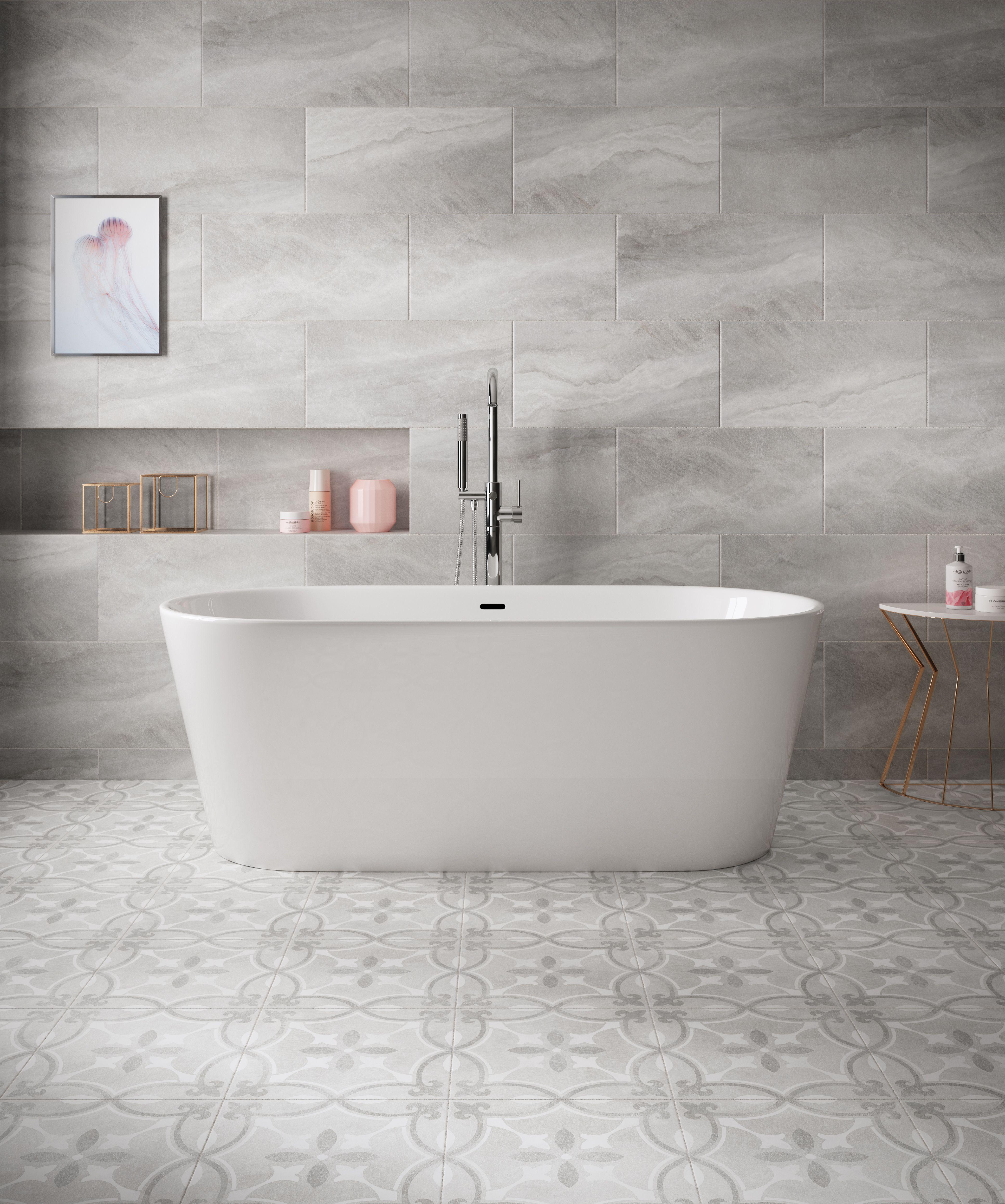 Perla Stone Ceramic Wall & floor tile, Pack of 6, (L)598mm (W)298mm ...