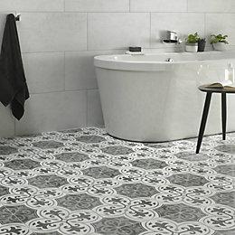 Charcoal Legacy Ceramic Tile, Pack of 9, (L)331mm