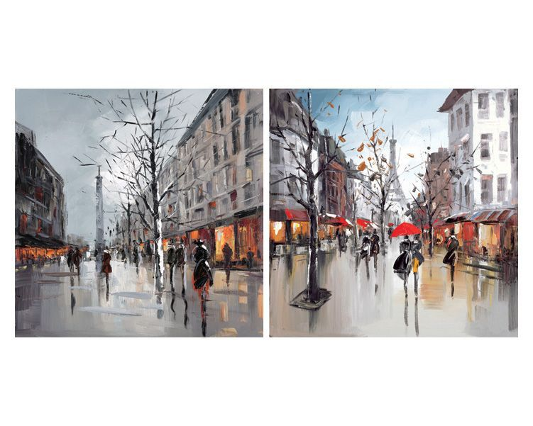 Paris Street Scenes Multicolour Canvas Art Set W 400mm H