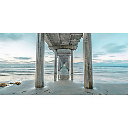 Distant Pier Multicolour Canvas Art (W)1200mm (H)600mm