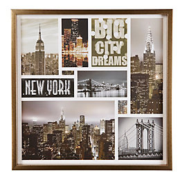 Big City Dreams Collage Framed Print (W)600mm (H)600mm